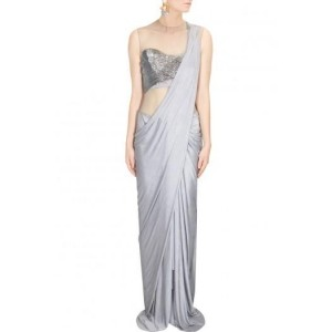 Gray Beads Embroidered Draped Sari Gown By Gaurav Gupta