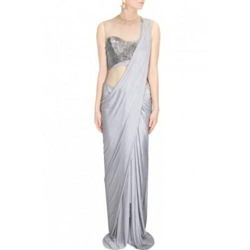 Buy Gray Beads Embroidered Draped Sari Gown By Gaurav Gupta online ...