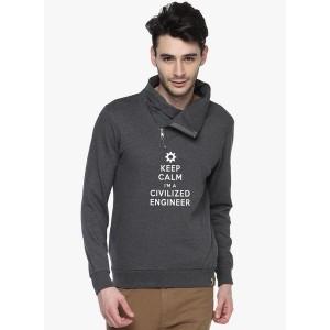 Campus Sutra Grey Printed Sweatshirt for Men