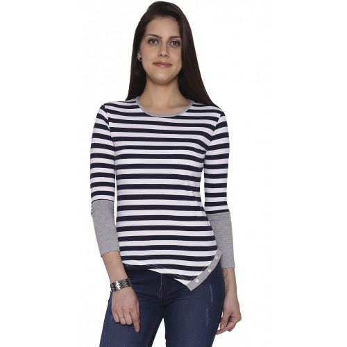 The Cotton Company Casual Full Sleeve Striped Women's Dark Blue, White Top