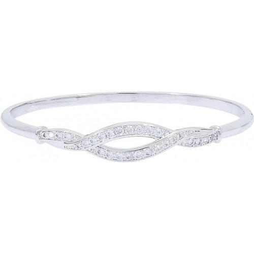Sparkle Jewels Metal Cubic Zirconia 22K White Gold Bracelet