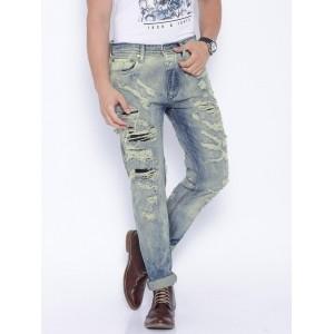 Jack & Jones Blue Anti Erik Fit Ripped Jeans