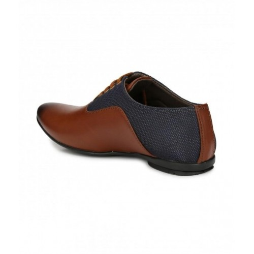 Wonker Brown & navy Blue Synthetic Patent Shoes