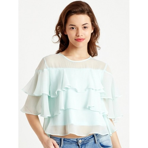 f6605d43ea2 Buy COVER STORY Sea Green Semi-Sheer with Ruffles Tiered Top ...