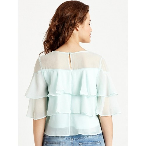 f5ac8b5ca17 Buy COVER STORY Sea Green Semi-Sheer with Ruffles Tiered Top online ...
