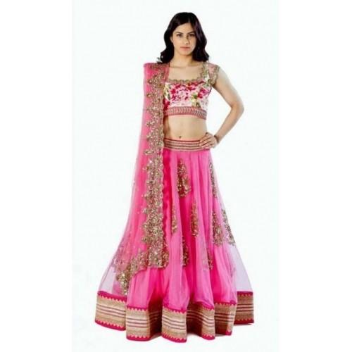9d73b575f Buy Chamunda Enterprise Pink Net Embroidered Lehenga Choli ...