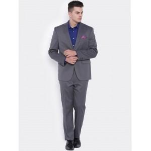 SUITLTD Grey Cotton Solid Slim Fit Formal Blazer