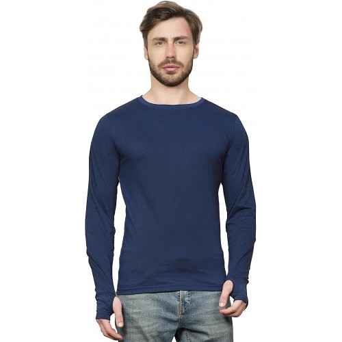 f50b88e42f7 Buy Maniac Solid Men's Round Neck Dark Blue T-Shirt online   Looksgud.in