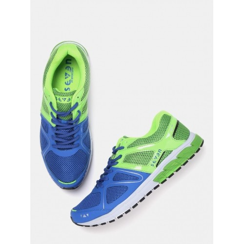 SEVEN by MS Dhoni Men Blue & Green Astron Running Shoes
