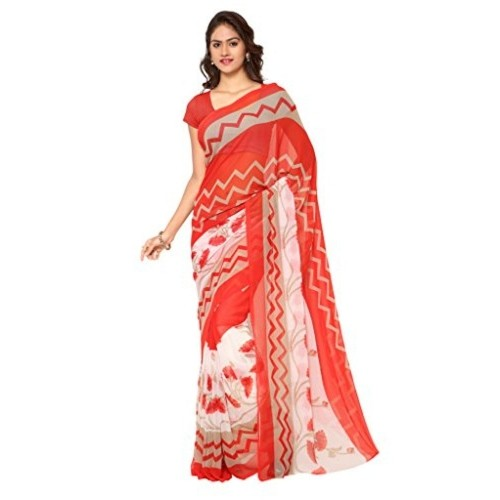 Buy Sarees Women S Clothing Saree For Women Latest Design Wear Sarees New Collection In Red Coloured Georgette Material Latest Saree With Designer Blouse Free Online Looksgud In