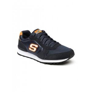 Skechers Navy Blue Mesh & Suede Lace Up Sneaker