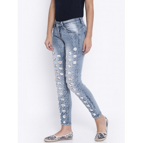 Deal Jeans Blue Skinny Fit Distressed Women's Jeans