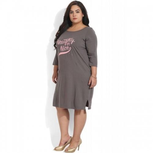Buy Amydus Plus Size Grey Naughty Nice Printed Lounge Dress Online