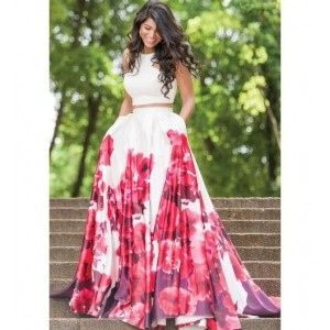 Miss Stylist White Silk Floral Crop Top And Lehenga