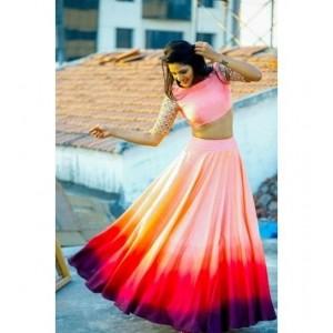 Multicolored Silk Embroidered Lehenga