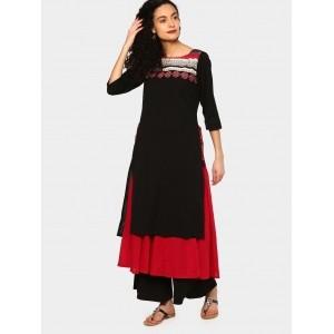 Rangmanch by Pantaloons Black & Red Overlay Kurta