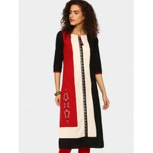 Rangmanch by Pantaloons Black & Red Regular Fit Kurta