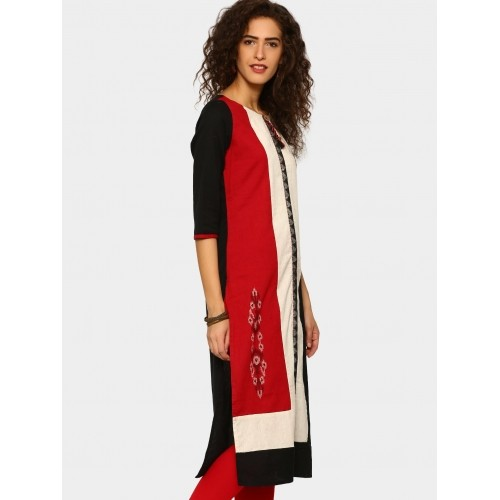 Rangmanch by Pantaloons Black & Red Regular Fit Kurta