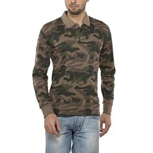 Clifton Mens Army Printed Full Sleeve Collar Polo T-Shirt-Walnut
