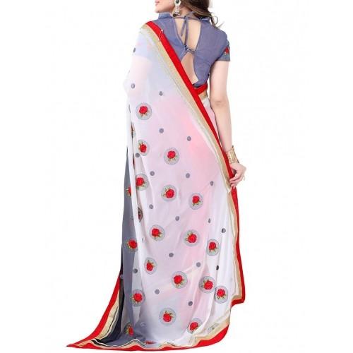 Fabkaz white georgette embroidered saree