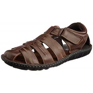 Hush Puppies Brown Leather Slip On Sandals