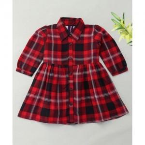 Enfance Casual Checks Dress - Red