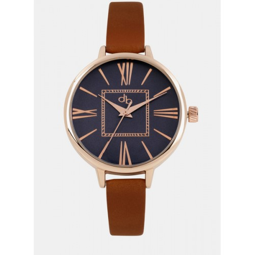 Dressberry Navy Blue/Tan Leather Analog Watch