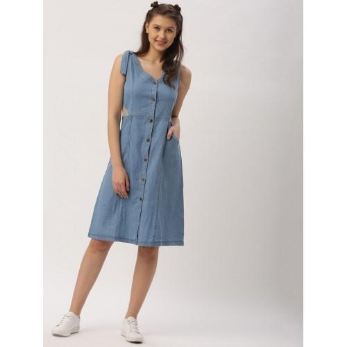 b00809e2b13 Buy DressBerry Women Blue Solid Denim Shirt Dress online