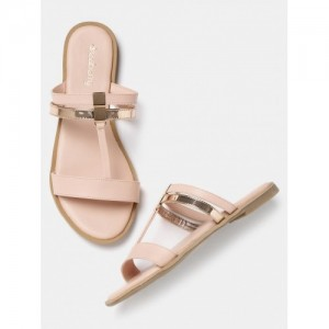 DressBerry Peach Synthetic Leather Slip-On Flats