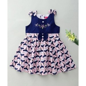 Enfance Embroidery & Flower Printed Sleevless Dress With Bow - Pink & Blue