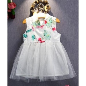 Pre Order - Superfie Floral Printed Beautiful Dress - White