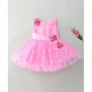 Enfance Flared Brasso Neted With Flower Broach - Pink
