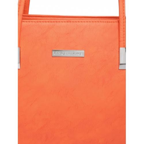 Lino Perros Orange Color Fuax Leather Solid Handbag