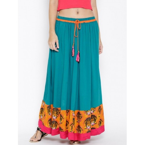 dc3d8258a Buy Akkriti by Pantaloons Teal Blue Maxi Skirt online | Looksgud.in