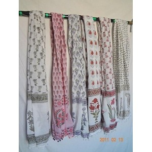 HANDICRAFTOFPINKCITY 5 Pcs Wholesale Lot Hand Block Print Women Stole Indian Women Cotton Scarves Handmade Floral Print Women Scarf Ladies Duppta