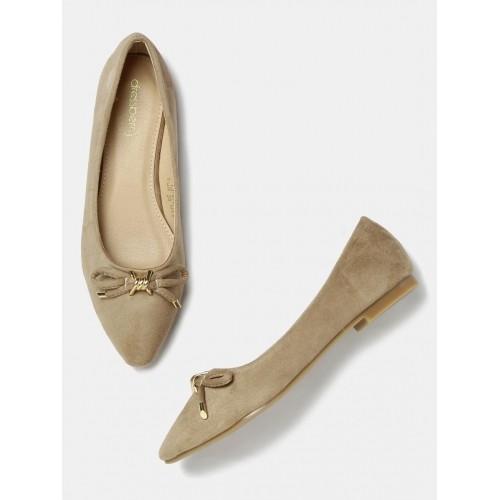... DressBerry Beige Solid Pointy-Toed Ballerinas ...