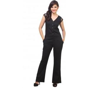 Cottinfab Blakc Rayon Slim FIt Solid Jumpsuit