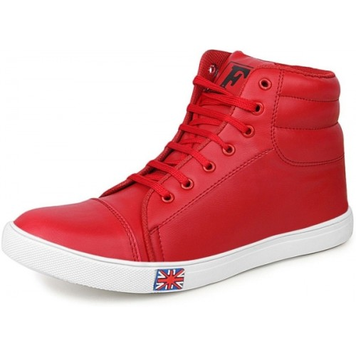 Kraasa Red Synthetic Lace Up Sneakers
