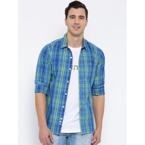 United Colors of Benetton Men Blue Slim Checked Casual Shirt