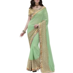 Indian Women By Bahubali green georgette saree