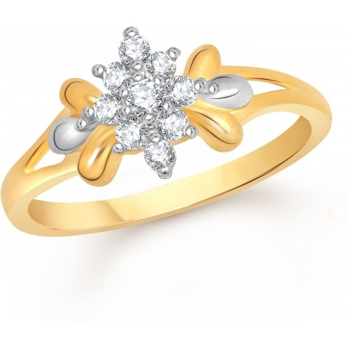 VK Jewels Lily Flower Alloy Cubic Zirconia 18K Yellow Gold Ring