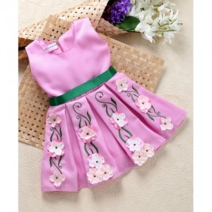 Shu Sam & Smith Box Pleat Dress With Embroidery Work - Pink