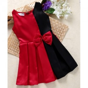 Shu Sam & Smith Box Maroon & Black Pleat Dress