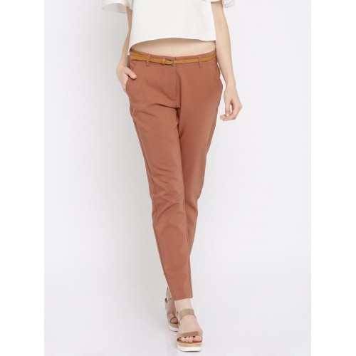 Vero Moda Women Rust Red Solid Slim Fit Casual Trousers