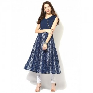 Aks Navy Blue Cotton Sleeveless Printed Kurta