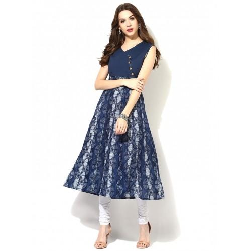 Aks Navy Blue Cotton Sleeveless Printed Kurta