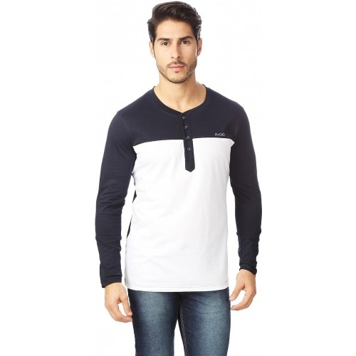 Rodid Solid Men's Henley Blue, White T-Shirt