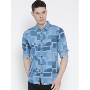 Being Human Blue Slim Fit Printed Denim Shirt