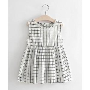 Superfie White Checkered Printed Dress