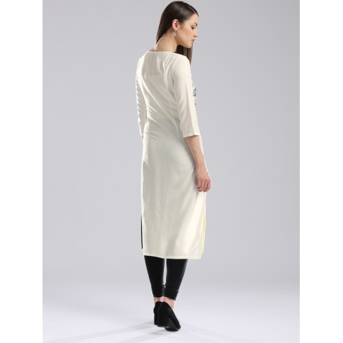 W Women White Viscose Printed Straight Kurti